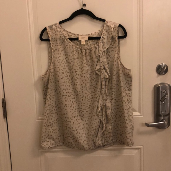 LOFT Tops - Cream Dotted Top